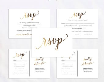 Rsvp Card Template Gold Wedding Instant Download
