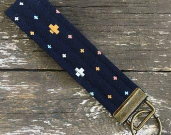 Crosses Key Fob/Key Chain/Fabric Key Fob/Key Ring/Luggage Tag/Stocking Stuffer/New Driver Gift/Bag Tag/Keyring/Wristlet