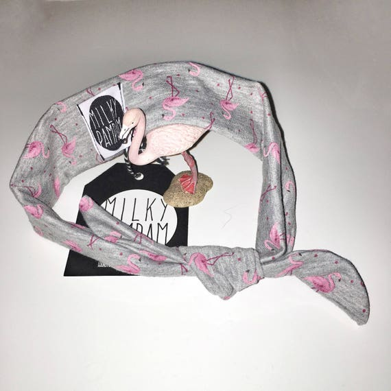 Baby Bandana Flamingo Grey Heather Pink