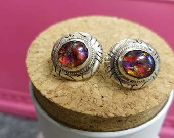 Vintage Sterling and Dragonsbreath Earrings