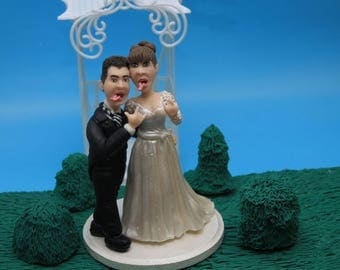 Personalised Wedding Cake Topper. Wedding keepsake. The bride and groom.  Cake topper.Cake decoration. Party Supplies.