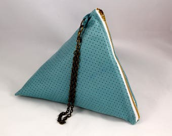 Triangle blue perforated leather bag
