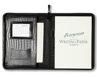 Leather A5 writing case - Crocodile Grained