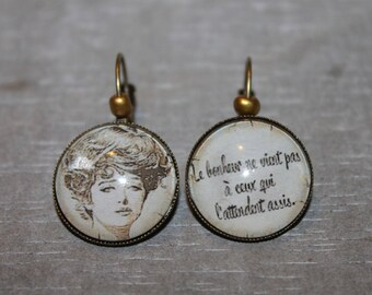"""Happiness does not come to those that await sitting"" - earrings metal Stud Earrings"