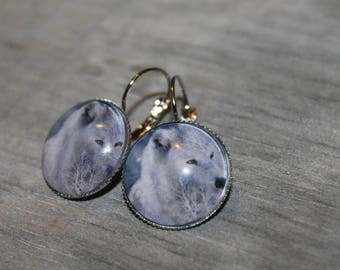 White Wolf - Stud Earrings round silver metal.