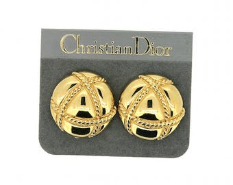 Christian Dior 1980s Gold Plated Quilted Design Vintage Earrings