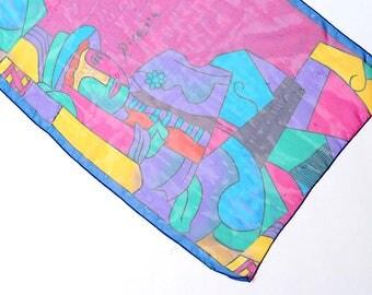 Vintage scarf, Picasso print scarf, vintage head scarf, women's scarf, neck scarf, retro scarf, mod scarf, vintage graphic scarf, Picasso