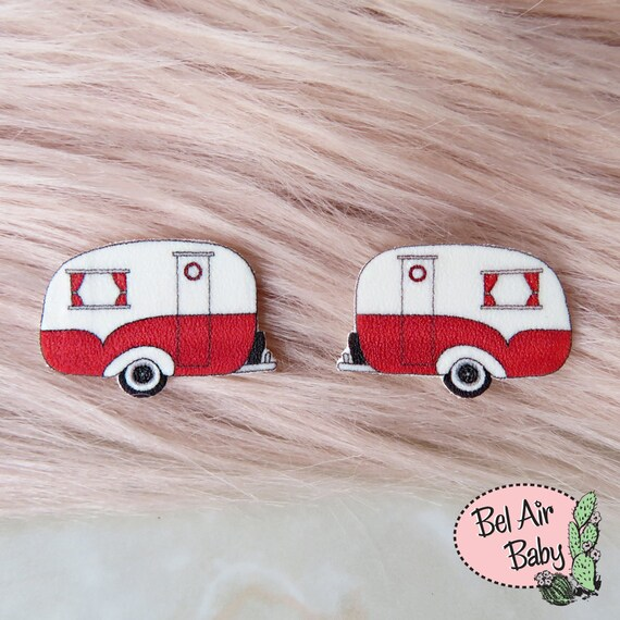 50s Jewelry: Earrings, Necklace, Brooch, Bracelet Vintage 1950s Camper Caravan Earrings / Pin / Pinup / 1950s / Vintage / Rockabilly / Retro / Camping / Glamping / StudsVintage 1950s Camper Caravan Earrings / Pin / Pinup / 1950s / Vintage / Rockabilly / Retro / Camping / Glamping / Studs $9.50 AT vintagedancer.com