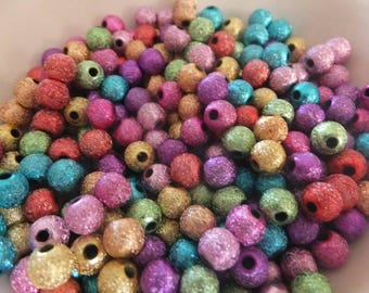 50 pc Mixed Color Stardust Round Acrylic Beads 6mm