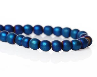 25 pc Blue Frosted Hematite Round Beads 4mm