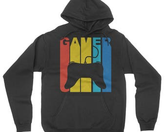 Vintage Style Gamer Controller Silhouette Retro Gaming Hoodie