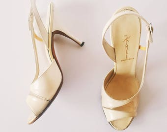 Cream Vintage Heels | Mr. Kimel for Nordstrom's Slingback Heels | 1960s Evening Pumps | US 7/ UK 6/ EU 39