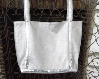 glittery silver linen handbag