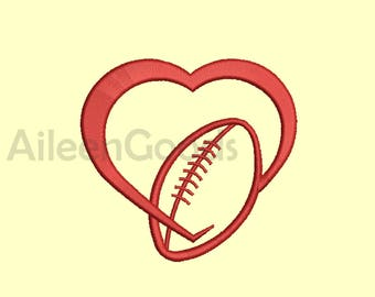 Love Football Applique Embroidery design 6 Size  INSTANT download machine embroidery