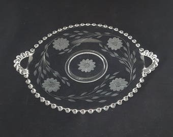 """Cornflower Candlewick 10"""" Cake Plate, Platter/Serving Tray, Double Handle, Etched Glass by W.J. Hughes ~ Vintage 1940's"""