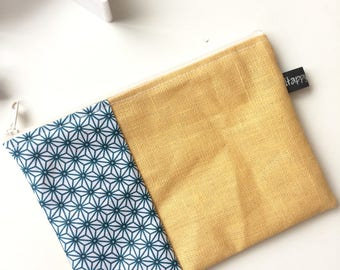 Japanese curry coated linen and stars bag pouch