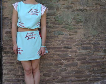 Mint green and floral two piece/co-ord, handprinted - handmade ecofashion