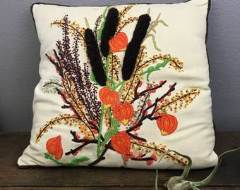 Embroidered Vintage Pillow - Fall