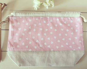 Large knitting / crochet project bag  ~ sweetheart ~