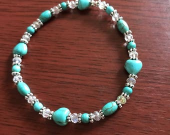 Turquoise and crystal stretch bracelet.