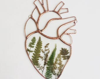 Clear Stained Glass Copper Anatomical Heart - Pressed Ferns