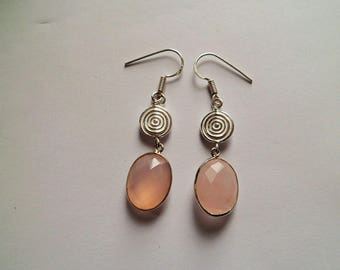 Rose quartz and Silver earrings solid 925 Sterling