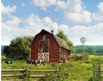 Farm and Barn Fabric Panel by Hoffman Fabrics