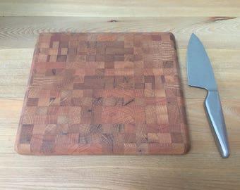 Large mixed hard wood end-grain butchers block chopping board
