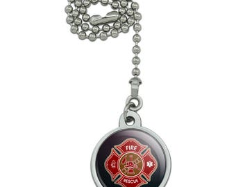 Firefighter Fire Rescue Maltese Cross Ceiling Fan and Light Pull Chain