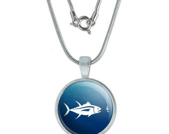 """Tuna Fish Fishing Fisherman 0.75"""" Pendant with Sterling Silver Plated Chain"""