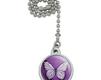 Butterfly Artsy Purple Ceiling Fan and Light Pull Chain