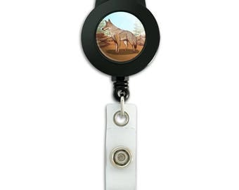 Coyote in the wild lanyard retractable reel badge id card holder