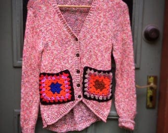 REDUCED Upcycled Multicoloured Cotton Knit Cardigan Sweater Granny Squares Slow Fashion