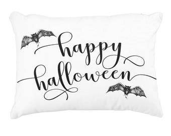 "Happy Halloween Pillow Cover WITH Insert, 12"" X 16"", Throw Pillow, Decorative Pillow, Accent Pillow, Halloween Decor, Ready to Ship"