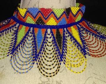 Royal blue Zulu fringed necklace