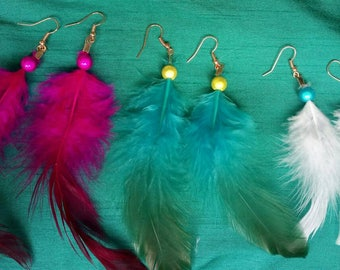 1 pair of Feather earrings, Boho, festival, bright, glow, colourful, club-wear, fashion jewellery