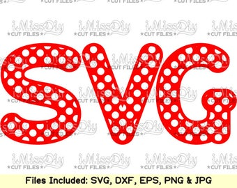 Polka dot Monogram Font Alphabet Letters Svg cutting files for Cricut Silhouette mug Dxf SVG CUT FILES digital fonts Instant download design