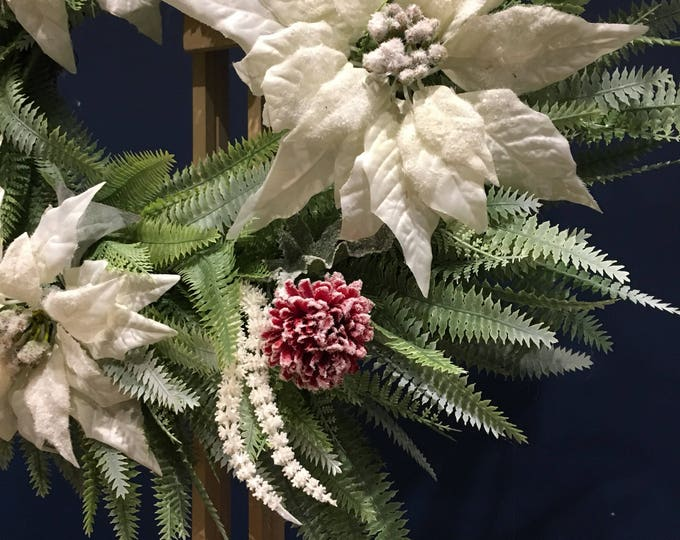 Christmas poinsetta wreath with snowy red pom pom flowers