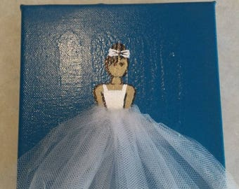 Ballerina on blue background, wall hanging