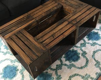 Long Wooden Crate Coffee Table - SEE DESCRIPTION DETAILS