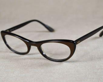 Vintage Catseye Glasses, 1950s Eyeglasses, Womens Cats Eye Frames, Dark Brown Marine Brand Wink Glasses, Midcentury Eyewear 408
