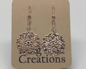 E1829: Large Rose Gold Dangle Earrings