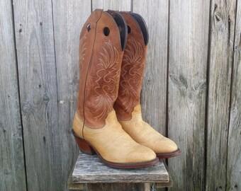 Men's cowboy boots 11.5D, Vintage cowboy boots, Leather boots, Western boots, Brown boots, Cowboy gift, Embroidered boots.