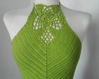 Halter top corset with fabric crochet granny