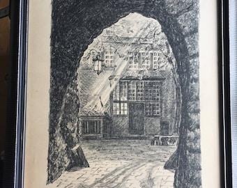 Original artist drawing, historic building, architecture, street scene, signed artwork, framed picture