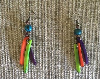 Multi Colored Tagua Nut Earrings / Eco-Jewelry / Tagua Dangle Earrings / Tagua Nut Jewelry