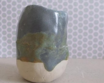 "Grey green ""fireplace"" ceramic pot"