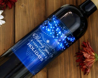 Personalized Christmas Label, Christmas Wine Label, Holiday Label, Holiday Wine Label, Christmas Gift, Custom Wine Label, Wine