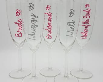 Personalised wedding glassware, personalised champagne flutes, love island styled