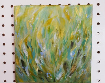 Green Abstract Meadow with Gold Accents